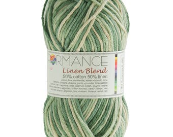 10 x 50g knitting yarn linen blend, #9090 greens
