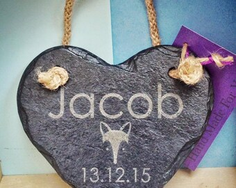 Personalised Baby Boy Slate Heart Hanger With Rope - Perfect Christening or New Born Gift