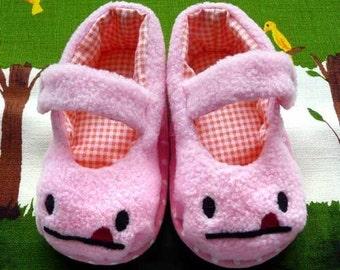 Baby MaryJanes Booties - Cheeky Monster MaryJanes (Soft Pink Fleece)
