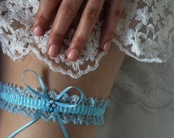 Something blue, Bridal garter, wedding garter made to measure, 3.5cm wide