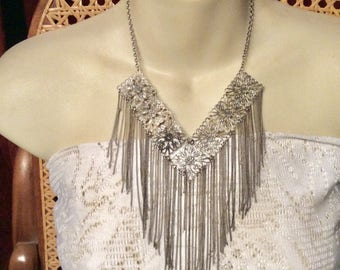 Vintage 1960s silver filigree squares with multiple chains drop dangles.