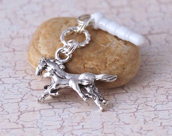 Mare and Foal Phone Charm - Horse Charm, Running Horses, Silver Plated Pewter, Phone Charm
