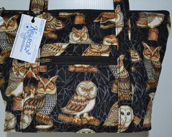 Quilted Fabric Handbag Purse Black with Beautiful Owls