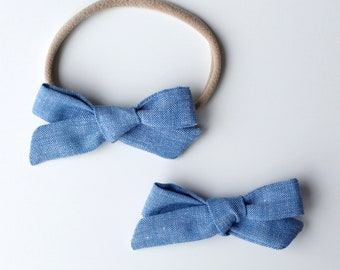 Hand tied baby bow, Tied bow, cotton bow, toddler bow