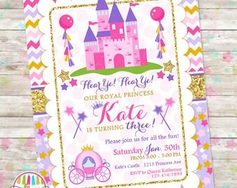 Princess Birthday Invitation, Princess Castle Birthday, Princess Carriage, Princess Birthday Party, Pink Gold Purple, DIY Printable Invite