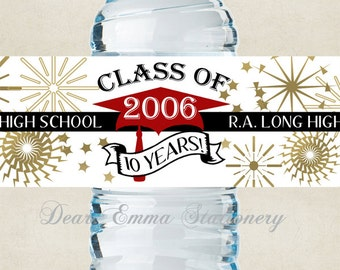 """Class Reunion Water Bottle Labels, Cap with Year - 100% Waterproof, Polyester Labels - Party Favors 2""""x8.5"""" self-stick labels - Personalized"""