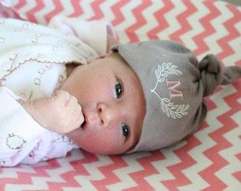 Laurel Wreath Baby Hat - Monogram Design- YOU CHOOSE COLORS