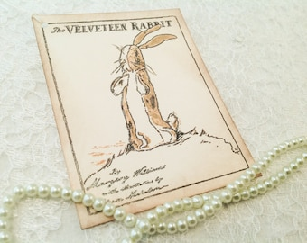 The Velveteen Rabbit Gift Tag Label-Children's Book Tags and Labels-Baby Shower Favor Tags-Set of 6