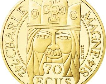 coin france charlemagne 500 francs-70 ecus 1990 ms(63) gold km990