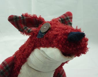 Rhona, stuffed Fox, handmade upcycled stuffed animal ooak