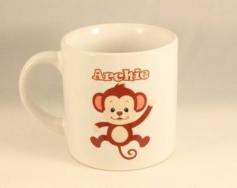 Personalised Childrens Mug - Zoo Design with monkey personalised with childrens name