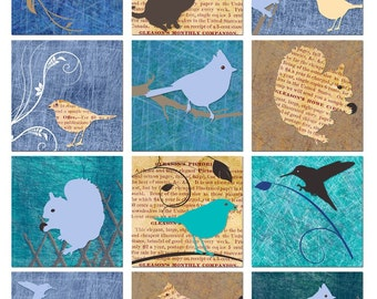Birds and Animals - Grungy Vintage Newspaper - Square Backgrounds Collage Sheet - Instant Download - Printable