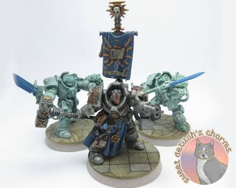 Warhammer 40k Grand Master Mordrak & Ghost Knight Squad Miniatures / Minis Set of Six - Handpainted