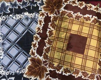 2 Maple Leaf, Autumn Motif cotton handkerchiefs, plaid, ca. 1960