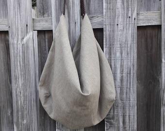 Stylish Linen Hobo Bag w/ Woven Leather Strap
