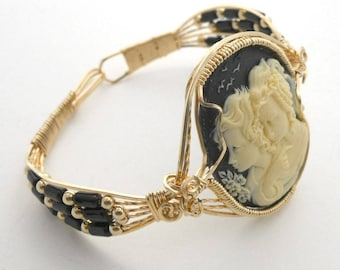 Two Ladies Cameo Gold-Filled Wire and GF Beads and Onyx Beads