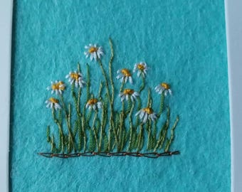Daisy card/ Embroidered Card / handmade card / Birthday card / Just Because / Any occasion / Mother of the Bride / floral card/ AOOK