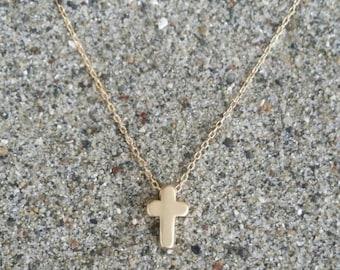 Cross Necklace, Tiny Cross Pendant, Gold Cross