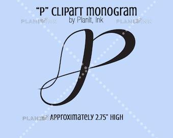 """Script Letter """"P"""" Clipart Monogram"""