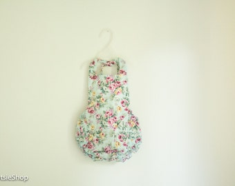 Mint Baby Girl Cotton Floral Ruffle Romper, Toddler Romper, Baby Sunsuit, Vintage Romper, Cake Smash, Birthday Outfit