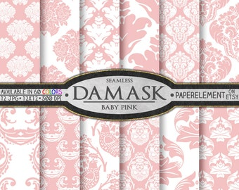 Baby Pink Damask Digital Paper Set - Baby Girl Printable Patterns, Seamless Pink Backgrounds, Soft and Delicate Blush Pink Scrapbook Pages
