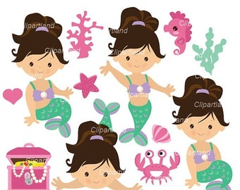 ON SALE INSTANT Download. Cm_59_Mermaids. Cute mermaids  clip art. Personal and commercial use.