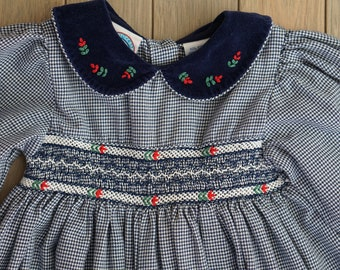 1980s Party Dress Smocked 18 months Romper with Velvet Collar