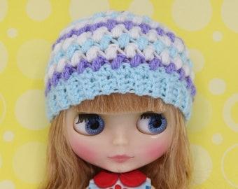 Cute Blythe hat /beanie blue/white/purple