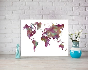 Maroon World Map Print World map Poster Travel poster Christmas gift  World map gift