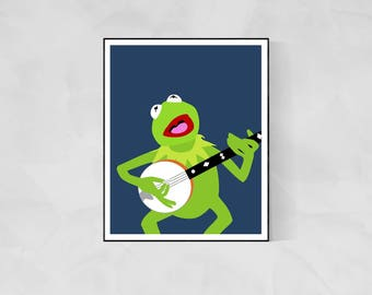 Kermit the Frog Minimalist Poster | The Muppets Muppet Movie Poster Muppet Poster Swedish Chef Poster Kermit Poster Gonzo TV Poster