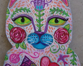 Original Painting Whimsical Kitty Cat Folk Art Wall Hanging
