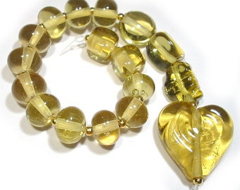 Chardonnay  Mix Handmade Glass Lampwork Beads