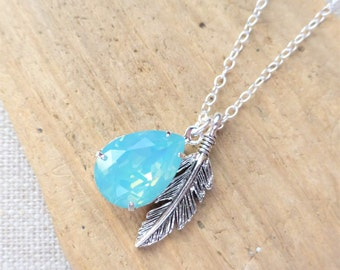 Boho Feather Charm Necklace, Seafoam Opal Swarovski Crystal Necklace, Aqua Blue Teardrop Sterling Silver Necklace, Crystal Pear Drop, Gift