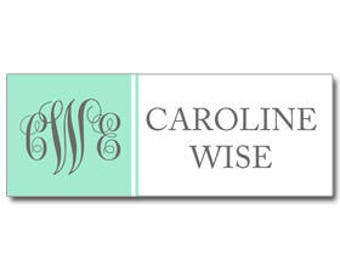 Girl's Back to School Calling Card Labels Tags Printable or Printed - ANY Wording - Gray and Mint Monogram Collection