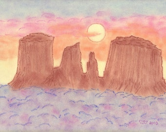 Cathedral Rock - Sedona AZ - pastel pencil/ Pastel pencil drawing/ Sedona illustration/ Southwest art