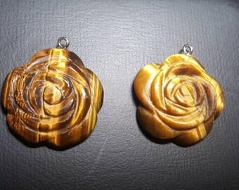 Tiger's Eye rose pendant stone carving