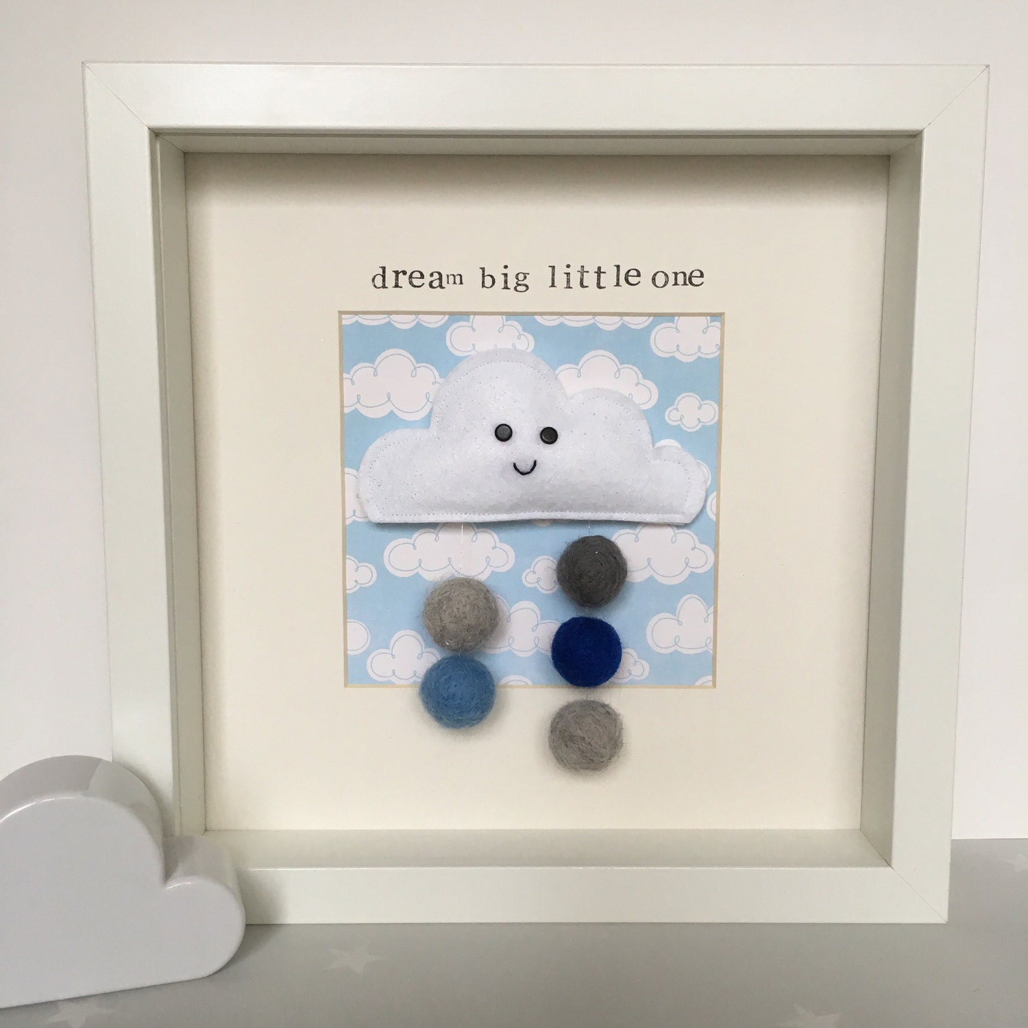 Blue Happy Cloud Box Frame, Personalised baby frame,New baby gift ...