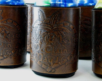 Custom Leather Wedding or Anniversary Can Holder Personalized Hand Tooled Leather Made to Order Leather Can Cooler Leather Beverage Holder