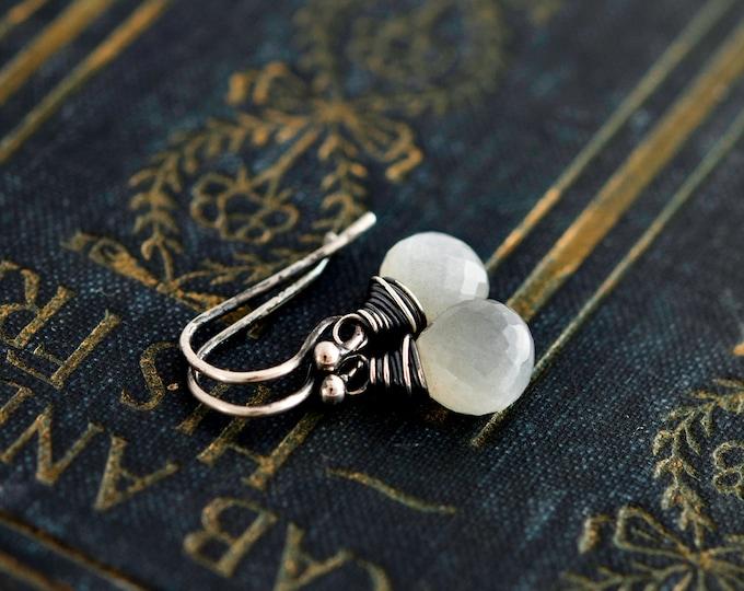 Moonstone Earrings, Drop Earrings, Gemstone Earrings, Moonstone Jewelry, Sterling Silver, Dangle Earrings, Stormy Weather, PoleStar