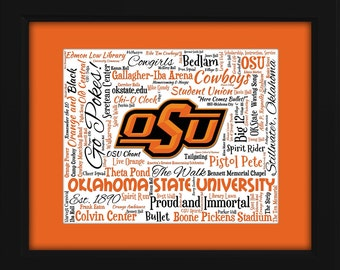 Oklahoma State University (OSU) 16x20 Art Piece - Beautifully matted and framed behind glass
