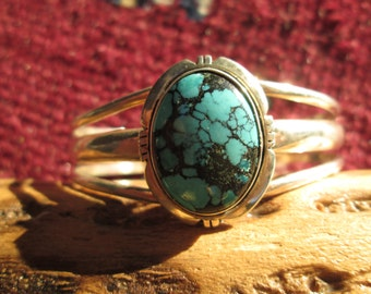 Spiderweb Turquoise and Sterling Cuff Bracelet