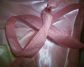 1 yd.of Antique pink metallic ribbon from the 1940s, more