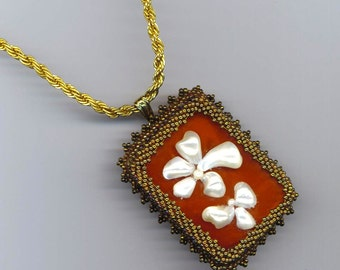 Orange Calcite . Caramel . Beadwoven Pendant/Brooch . Mother of Pearl . Floral - Mountain Flower by enchantedbeads on Etsy
