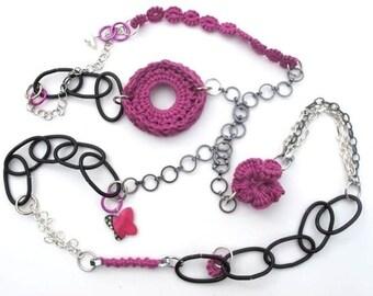 "Fiberpunk™ Necklace - Fuchsia Pink - Extra Long 27"" / Fiber Jewelry / Crochet Jewelry / Tatted Jewelry"