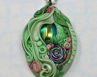 Pendant Necklace Polymer Clay, Mint Green and Rose Pink with Vintage Emerald AB Cabochon