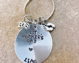 1st Mother's Day with Baby's Name Hand Stamped Key Ring - Baby Foot and 2018 ~ First Mother's Day Gift - Mom Gift ~ New Mommy Gift