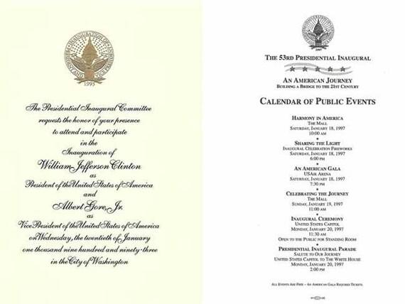 President William Jefferson Clinton, Hillary Clinton, Al Gore collectible keepsake inaugural invitation and memorabilia souvenirs, keepsakes