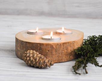 Wood Slab Centerpiece, 3 Candle, Round Wood Slab, Tree Candle Holder, Reclaimed Wood Candle Holder, Log Candle Holder, Beaver Chew Candle