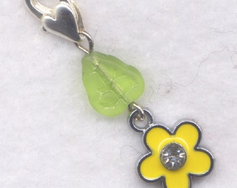 Yellow Flower Stitch Marker Clip Enameled Crystal Rhinestone Single /SM208C