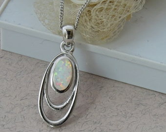 White Opal Necklace, Sterling Silver Opal Pendant, White Opal Jewelry, October Birthstone